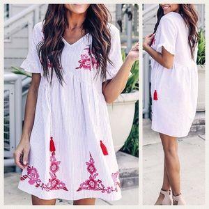 Dresses & Skirts - Embroidered Babydoll Ruffle Sleeve Dress